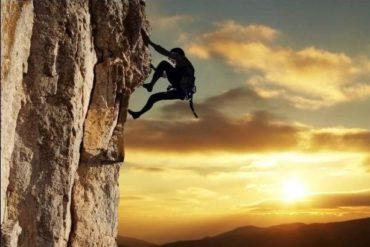 Mountain Climbing requires determination
